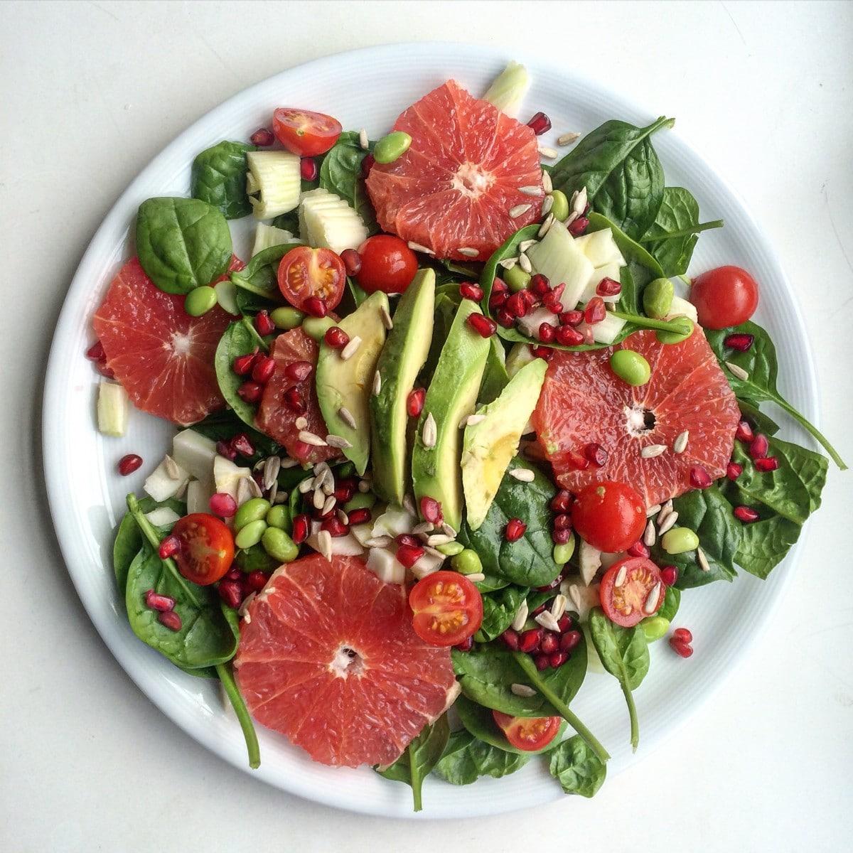 Spinaziesalade met grapefruit