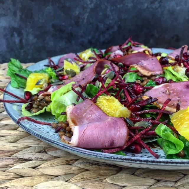Gerookte eendenborst salade