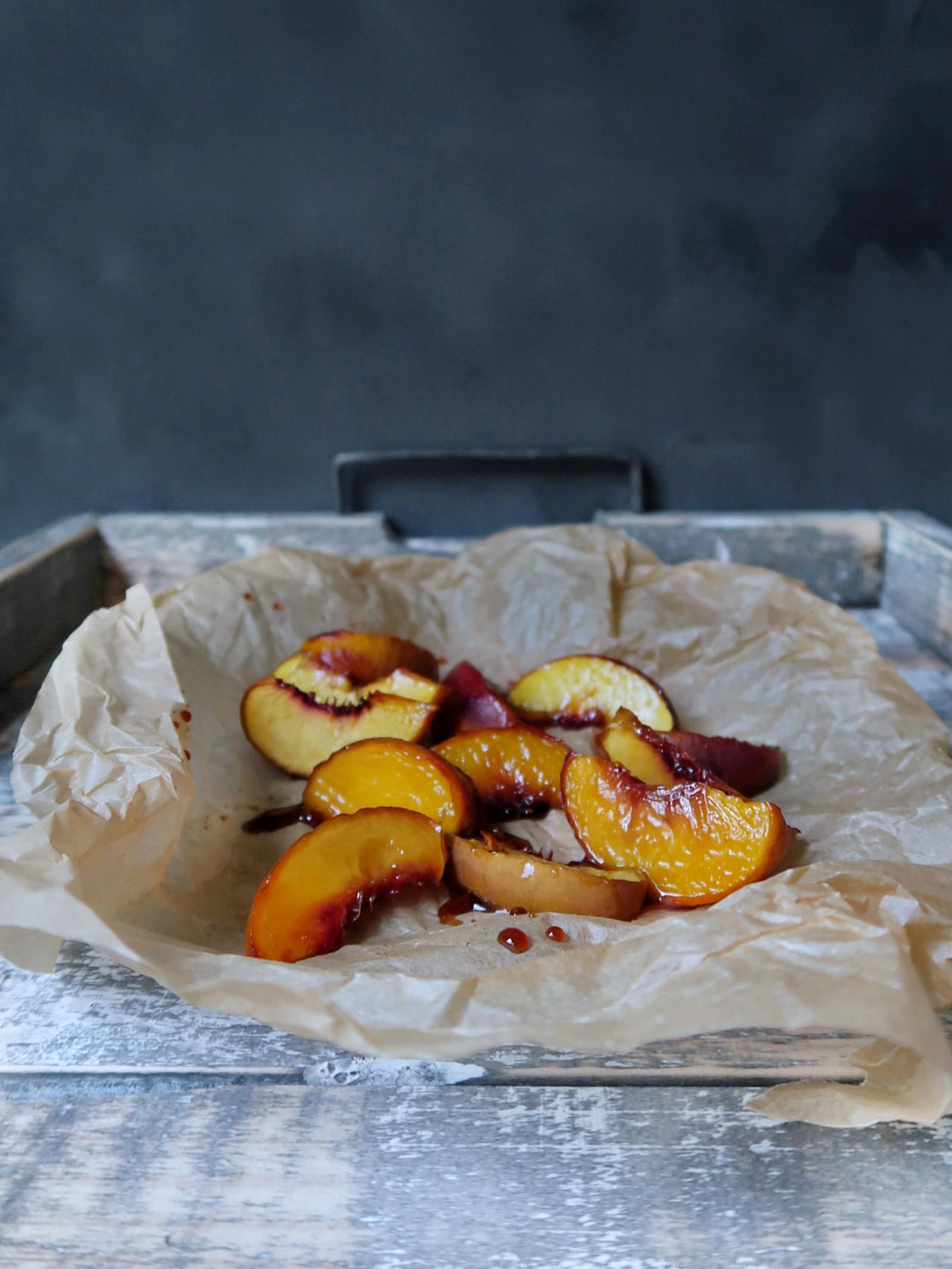 Perziken met balsamico uit de oven