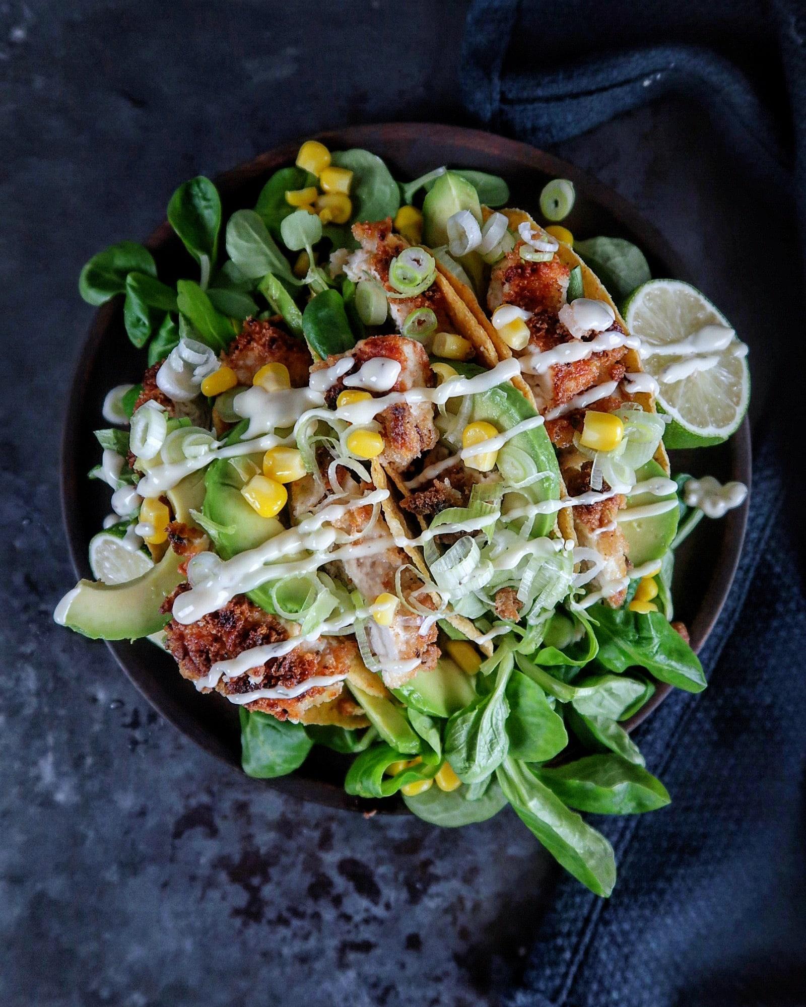 taco's met gepaneerde kip