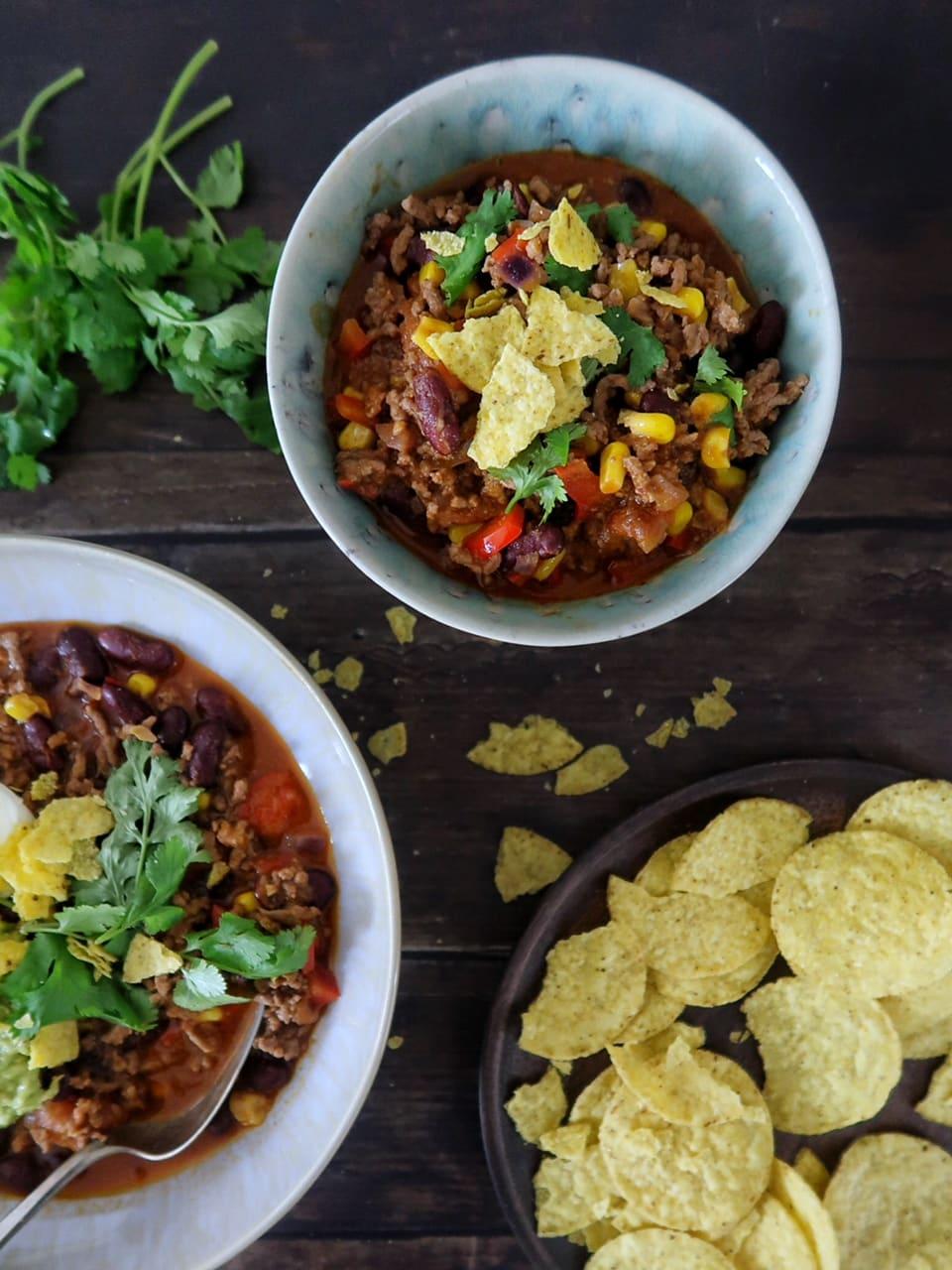 Taco soep met guacamole