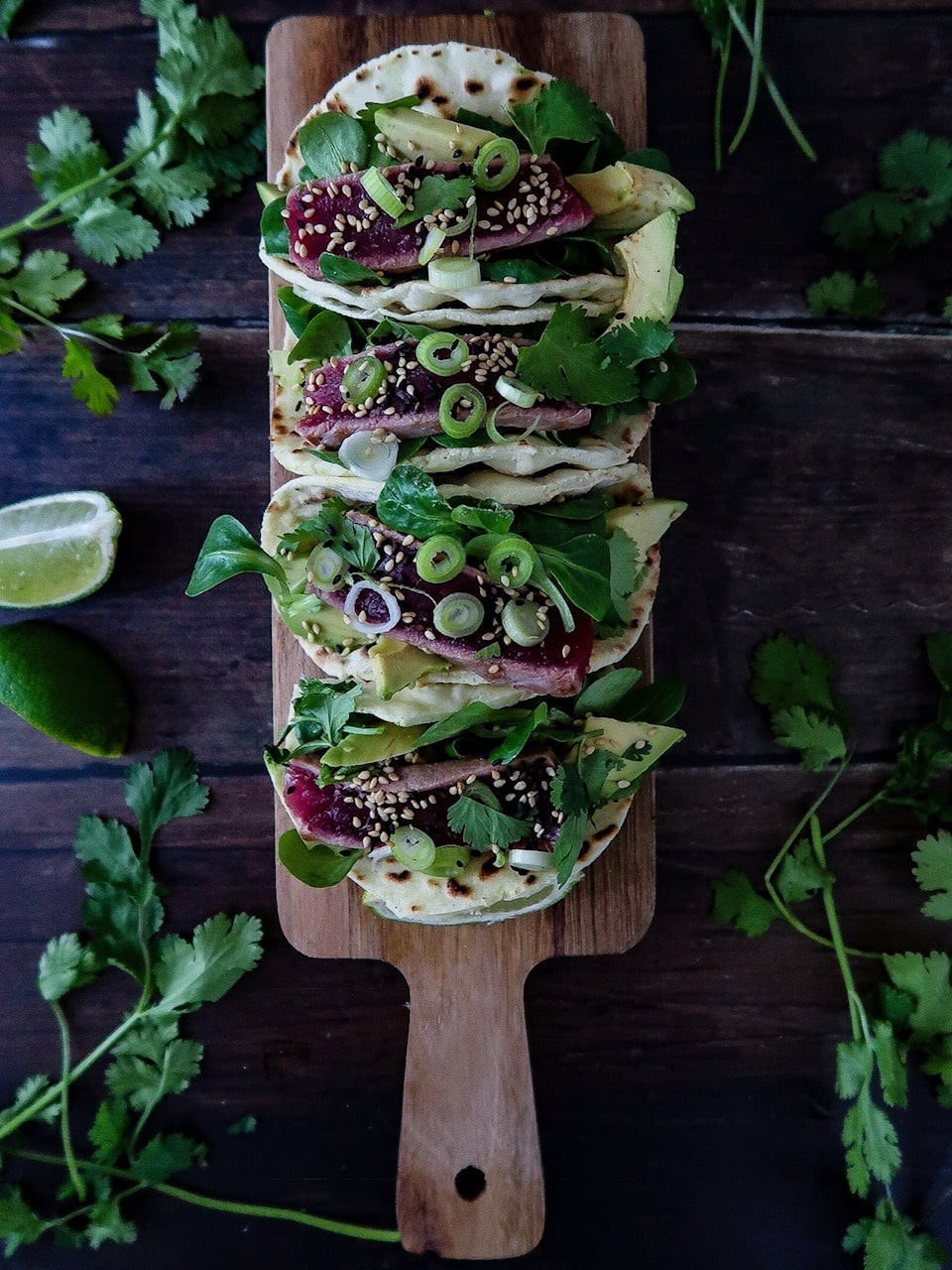 taco's met gegrilde tonijn