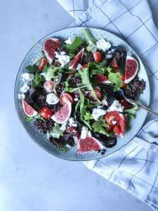 Salade met linzen en vijgen