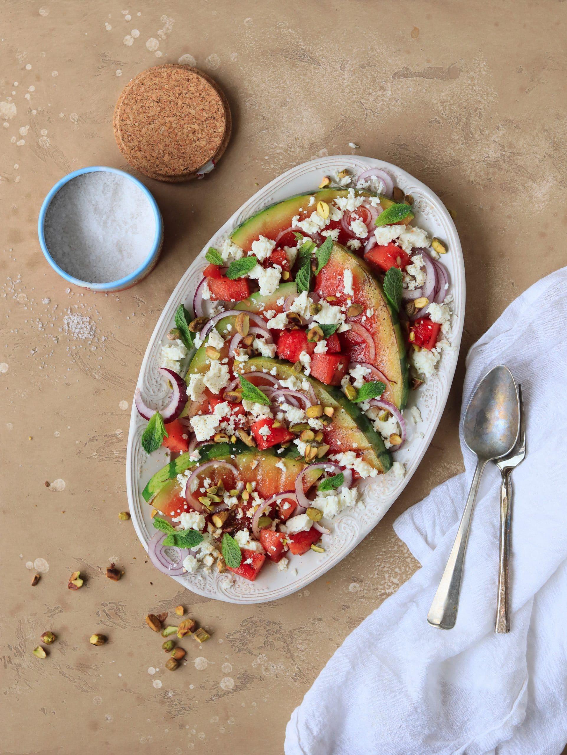 gegrilde salade van watermeloen